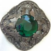Miracle Creations Scottish Brooch - Vintage -  Green Central Jewel Thistle Detail